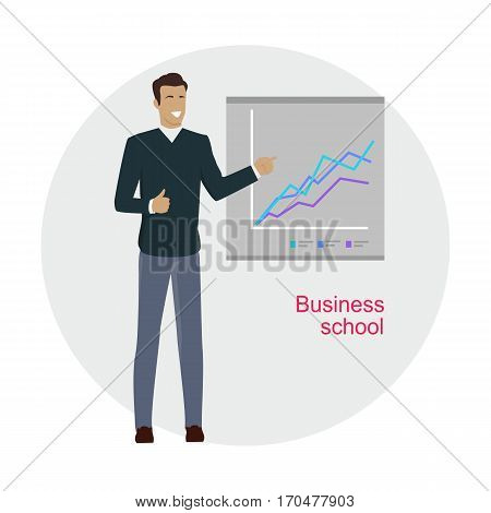 Business school. Man standing near the presentation screen with stock lines isolated. Flip Chart. Editable items in flat style for web design. Infographics. Professional growth. Vector illustration