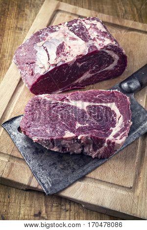Dry Aged Kobe Entrecote Steak on Cutting Board