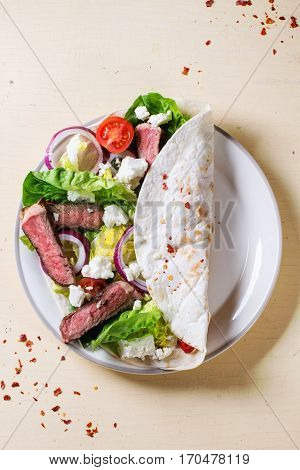 Taco With Feta Cheese And Beef