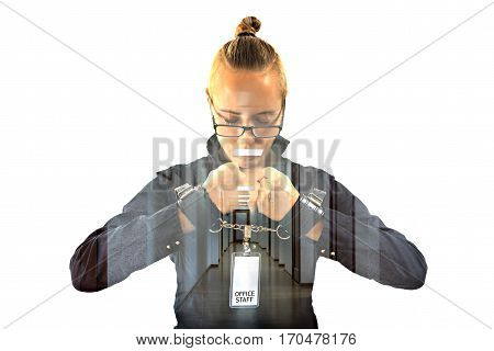 Young beautiful businesswoman with mouth shut with projection of office ceiling lamp as symbol scotch prisoner of job in cuffs isolated on white background. Concept of silent dumb anger and job hate