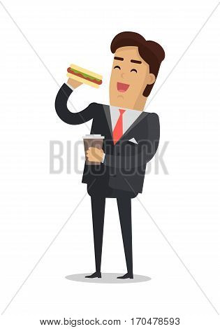 Office lunch break vector concept. Flat design. Smiling man in business suit with coffee cup in hand eating hot dog. Street fast food. For cafe, eatery, ad. Snack at work. On white background