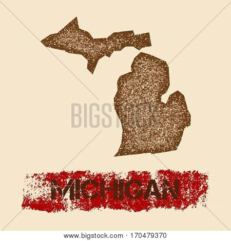 Michigan Distressed Map. Grunge Patriotic Poster With Textured State Ink Stamp And Roller Paint Mark