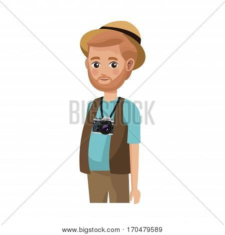 man with a photographic camera over white background. colorful design. people traveling concept. vector illustration