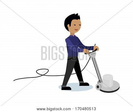 Floor cleaning vector video banner. Flat design. Man working with surface cleaner machine. Illustration for cleaning companies and services advertising. Isolated on white background.