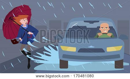 car splashes pedestrian, funny cartoon  illustration of discourtesy