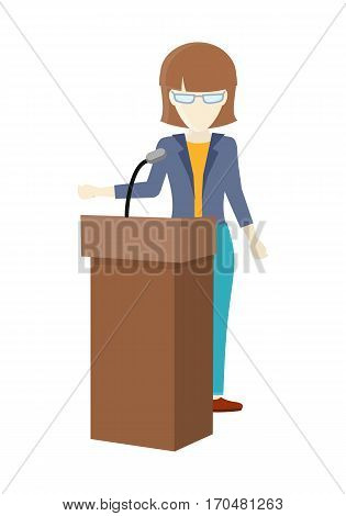 Woman orator speaking from tribune. Concept of public speaking, business seminar and business conference, couching. Woman standing at lectern giving public speech. Web infographics in flat.