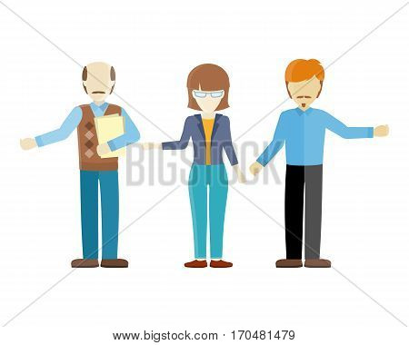 Set of human characters vector. Flat design. Woman and men figures of different ages in casual clothes. Teacher, lecturer, office worker illustrations for concepts, app pictogram, logos, infographic.