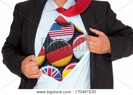 Global Business - Businessman with international flag buttons on white background