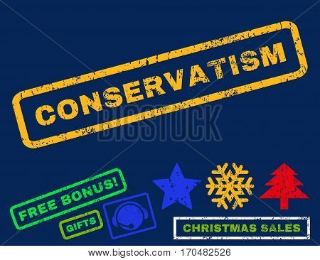 Conservatism text rubber seal stamp watermark with additional bonus christmas symbols. Caption inside rectangular shape with grunge design and scratched texture.