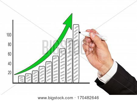 Business Success Chart with hand on white background