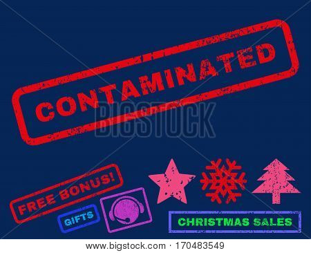 Contaminated text rubber seal stamp watermark with additional bonus new year symbols. Caption inside rectangular shape with grunge design and unclean texture.
