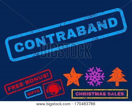 Contraband text rubber seal stamp watermark with bonus christmas symbols. Caption inside rectangular shape with grunge design and dust texture.