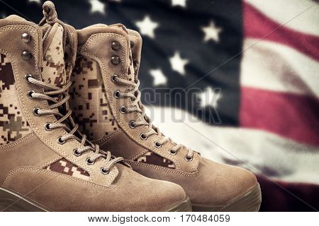 New brown  american military boots closeup picture