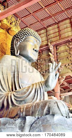 The Great Buddha statue of Todaiji temple in Nara Japan