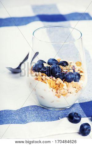 Dietetic breakfast - yoghurt with muesli and huckleberries