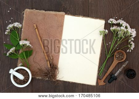 Valerian herb flowers and root with mortar and pestle and dropper bottle over oak background. Used as an alternative to valium in natural medicine.
