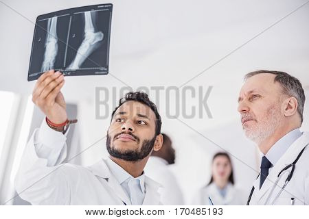 Serene medical advisers looking at roentgenogram of feet of patient in office of clinic during conference. Bearded therapeutic holding image in his hand while standing near his associate