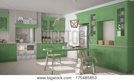 Scandinavian Classic Kitchen With Wooden And Green Details, Minimalistic Interior Design