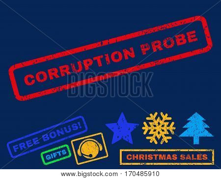 Corruption Probe text rubber seal stamp watermark with bonus christmas symbols. Tag inside rectangular shape with grunge design and unclean texture.