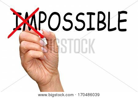 Everything is possible - female hand with marker writing text on white background