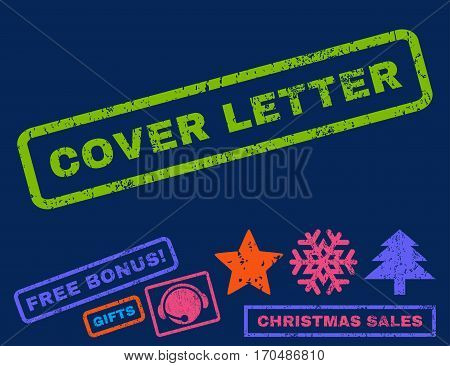 Cover Letter text rubber seal stamp watermark with additional bonus christmas symbols. Tag inside rectangular banner with grunge design and dirty texture.