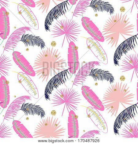 Pink banana palm leaves seamless vector pattern on white background. Tropical banana jungle leaf with glitter dots.