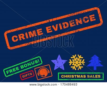 Crime Evidence text rubber seal stamp watermark with additional bonus new year symbols. Caption inside rectangular shape with grunge design and scratched texture.