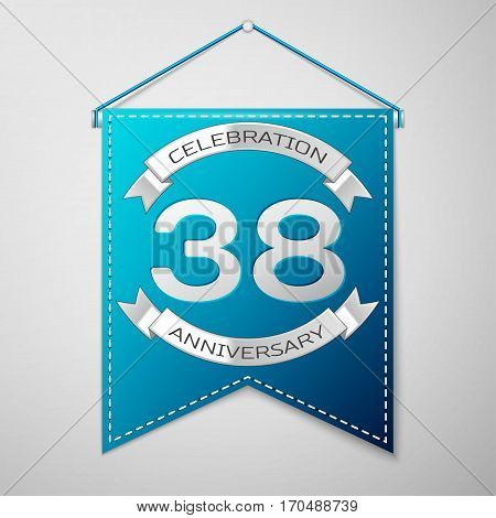 Blue pennant with inscription Thirty eight Years Anniversary Celebration Design over a grey background. Silver ribbon. Colorful template elements for your birthday party. Vector illustration