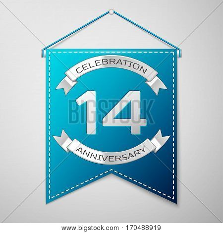 Blue pennant with inscription Fourteen Years Anniversary Celebration Design over a grey background. Silver ribbon. Colorful template elements for your birthday party. Vector illustration