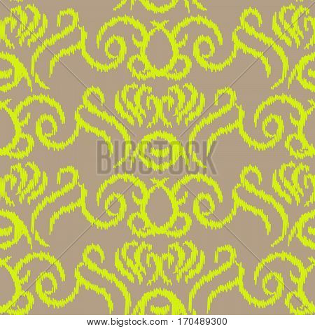 Ikat ogee vector seamless pattern. Abstract swirl background for fabric, print or wrapping paper. Neo green on taupe swirl design.