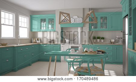 Scandinavian Classic Kitchen With Wooden And Turquoise Details, Minimalistic Interior Design