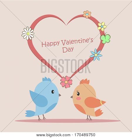 Vector Illustration of Love birds sitting on the heart. Postcard to Valentines Day