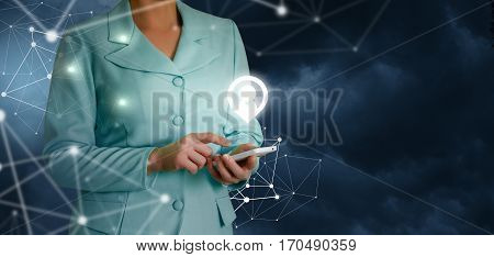 Businessman determines its location the concept design.