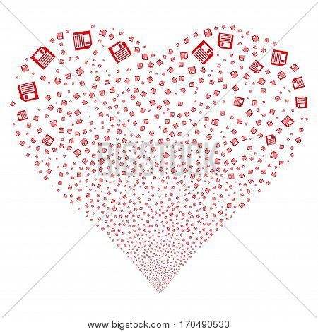 Floppy Disk fireworks with heart shape. Vector illustration style is flat red iconic symbols on a white background. Object love heart created from scattered symbols.