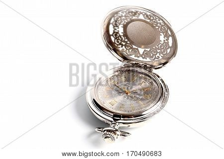 fine antique pocket watch in a silver body and gold arrows
