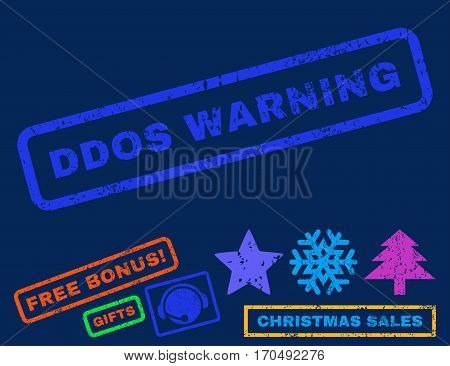 Ddos Warning text rubber seal stamp watermark with additional bonus christmas symbols. Tag inside rectangular shape with grunge design and unclean texture.