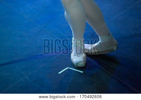 Ballet statement. Ballerinas in the movement. Feet of ballerinas close up.