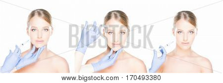 Doctor injecting in a beautiful face of a young woman. Plastic surgery concept isolated on white. Set collage.