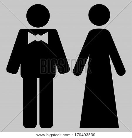 Just Married Persons vector icon symbol. Flat pictogram designed with black and isolated on a silver gray background.