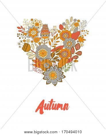 Cute vintage heart shape made of flowers and leaves. Beautiful floral background. Use for card, greeting, invitation, wedding, party, hen-party, baby shower, mother's day, valentine. Vector illustration