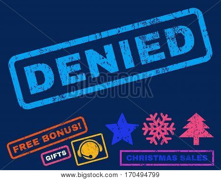 Denied text rubber seal stamp watermark with bonus christmas symbols. Tag inside rectangular shape with grunge design and unclean texture.