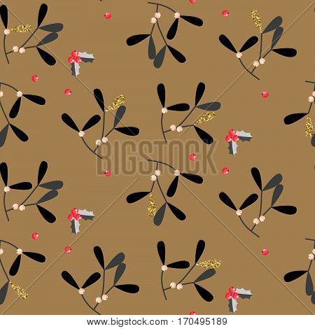 Mistletoe leaves seamless vector pattern. Christmas decor black and gold background.