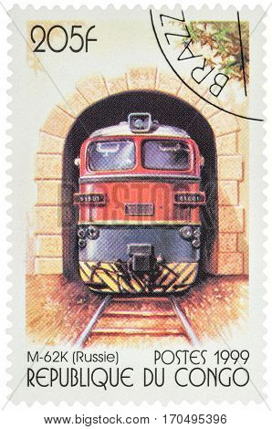 MOSCOW RUSSIA - February 11 2017: A stamp printed in Congo shows Russian diesel locomotive M-62K series