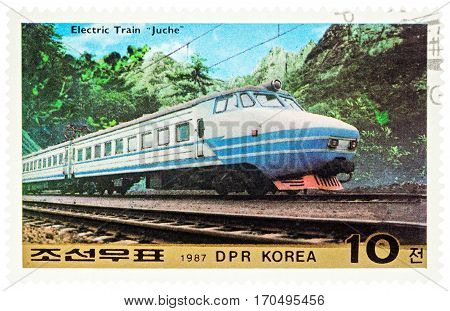 MOSCOW RUSSIA - February 07 2017: A stamp printed in DPRK (North Korea) shows Korean Electric Train