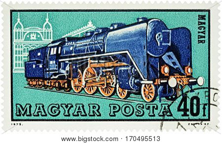 MOSCOW RUSSIA - February 07 2017: A stamp printed in Hungary shows old locomotive series