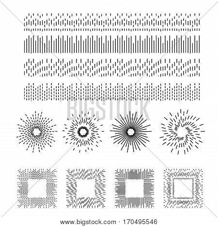 Dashed line vector pattern brushes. Strokes for sunburst sign and frame design.