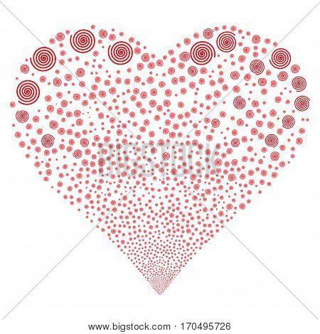 Hypnosis fireworks with heart shape. Vector illustration style is flat red iconic symbols on a white background. Object stream constructed from confetti symbols.