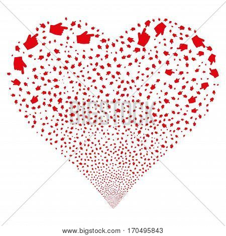 Index Finger fireworks with heart shape. Vector illustration style is flat red iconic symbols on a white background. Object valentine heart made from random symbols.