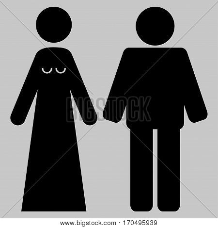 Married Groom And Bribe vector icon symbol. Flat pictogram designed with black and isolated on a silver gray background.
