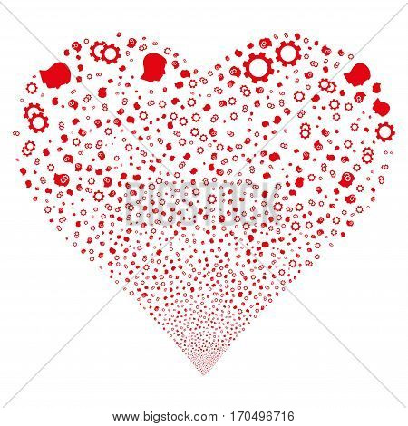 Intellect Gears fireworks with heart shape. Vector illustration style is flat red iconic symbols on a white background. Object love heart constructed from scattered pictograms.